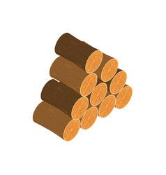 woodpile isolated wooden log on white background vector image