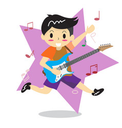 Young boy playing electric rock guitar happy love vector