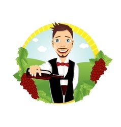 Young smiling waiter pours red wine vector