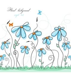 Blue floral garden vector