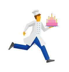 chef in white hat runs with cake on a tray vector image vector image