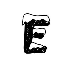 e christmas snowy alphabet christmas font with vector image