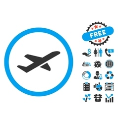 Takeoff Flat Icon with Bonus vector image