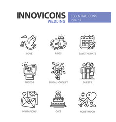 Wedding - modern line design icons set vector