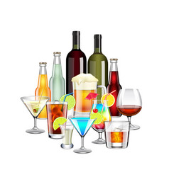 Alcohol drinks and cocktails composition isolated vector image