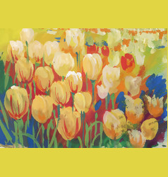 closeup of colorful field of tulips vector image