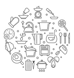 cooking foods and kitchen tools thin line vector image vector image