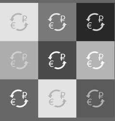 currency exchange sign euro and russia ruble vector image