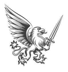 Engraving griffin with sword vector