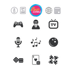 entertainment icons game bowling and puzzle vector image