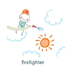 Firefighter puts out the sun vector