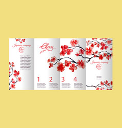 four pages brochure with cherry blossom or sakura vector image vector image