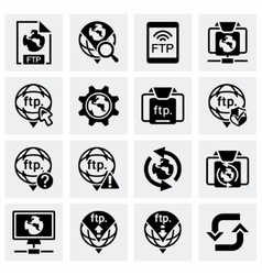 FTP icon set vector image