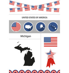 map of michigan set of flat design icons vector image vector image