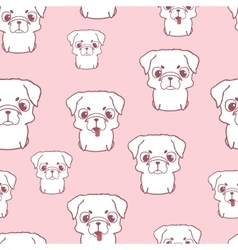 Seamless pattern with pug puppies Hand drawn vector image vector image