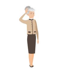 senior caucasian business woman scratching head vector image vector image