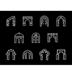 Set of archway styles white line icons vector image