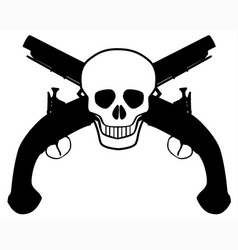 skull and pistols vector image vector image