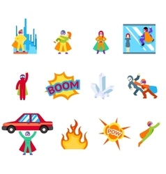 Super human special power icons flat design vector image