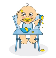 baby eating vector image