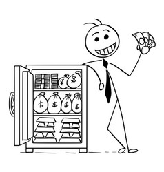 cartoon of happy business man posing with vault vector image