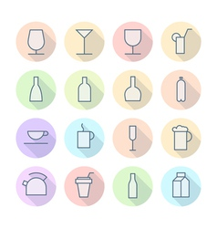 Thin Line Icons For Drinks vector image vector image