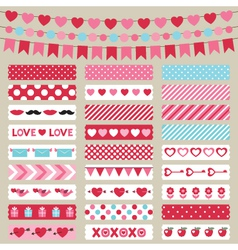 Valentines Day decoration and washi tapes vector image
