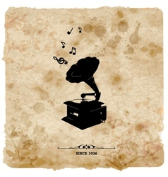 Vintage postcard Retro turntable on grunge vector image