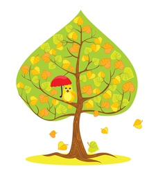 autumn - tree and funny bird vector image vector image