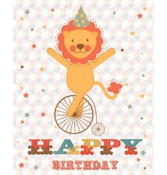 Happy birthday card with happy lion vector image