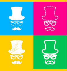 hipster accessories design four styles of icon on vector image