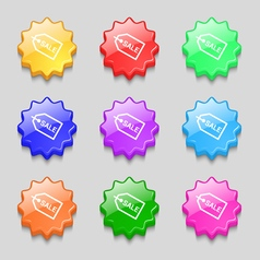 Sale icon sign symbol on nine wavy colourful vector image vector image