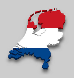 3d isometric map netherlands with national flag vector