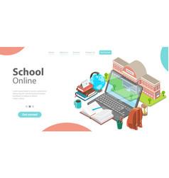 3d online school concept landing page template vector image