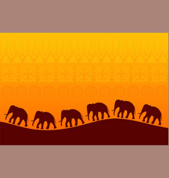 African landscape with elephants silhouette vector