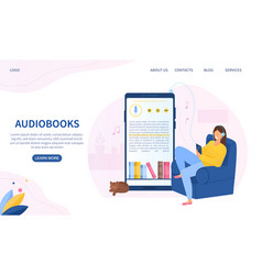 audiobooks web page template with mobile app vector image