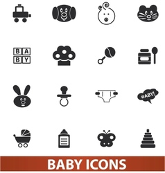 baby icons set for web and design vector image
