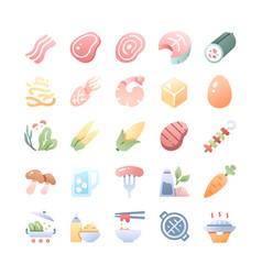 barbecue and hot pot icons set vector image