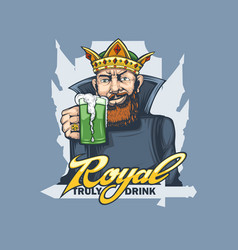bearded king with a glass beer in his hand vector image