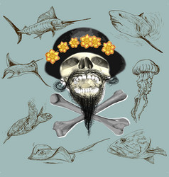 bearded pirate skull and underwater life - hand vector image