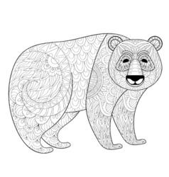 big panda in entangle tribal style freehand vector image