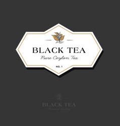 Black elite tea logo label leaves classic style vector