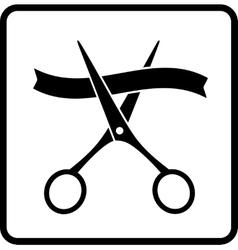 Black scissors and ribbon vector