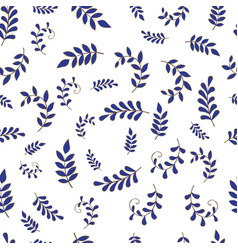 Blue fern seamless pattern background vector