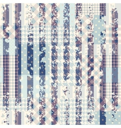 Blue patchwork with grungy strips vector image