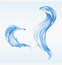 blue water splashes aqua wave drops vector image