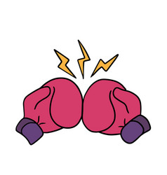 boxing gloves punch cartoon art sticker template vector image