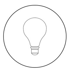 bulb the black color icon in circle or round vector image