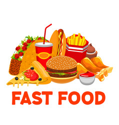 Burger cola pizza fries takeaway fastfood vector