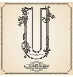 Calligraphic font Letter U vector
